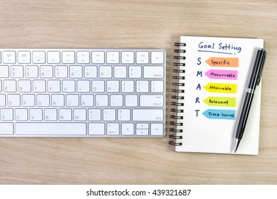 Smart and goals setting with hand written acronyms definition on the notebook with pen and keyboard over wooden table, top view