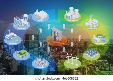 Smart Grid conceptual abstract. Various architectures and applications about renewable energy and modern lifestyle, smart energy network, smart city, internet of things