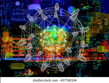 Smart grid and energyconcept , Electric Energy Distribution Chain concept , Power grid network symbol and text with abstract Metropolis building colorful background