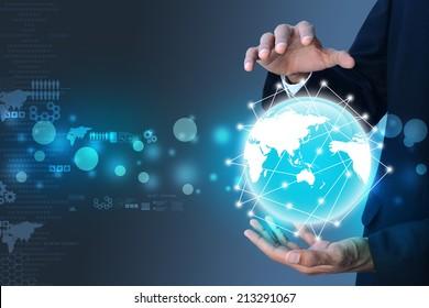 Smart hand holding the globe