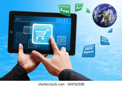 Smart hand touch on Cart icon on touch pad : Elements of this image furnished by NASA
