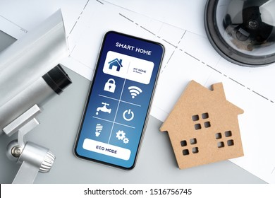 Smart home application concept with CCTV security online camera