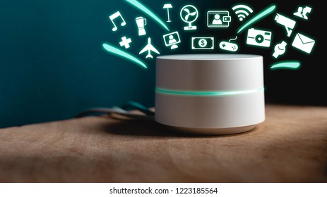 Smart Home assistant device, Virtual assistant , Artificial intelligence, Home control internet of things concept