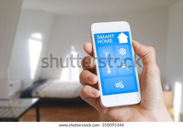 Smart Home Automation App On Smartphone Stock Photo (Edit