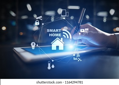 Smart home automation concept on virtual screen.