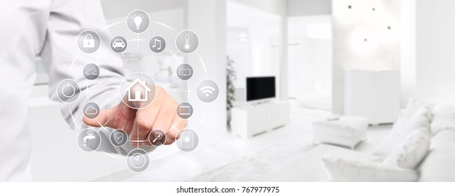 smart home automation hand touch screen with symbols on interior room background web banner and copy space template