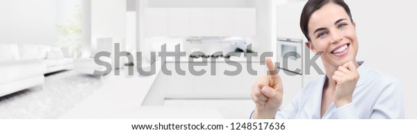 Smart Home Automation Smiling Woman Hand Stock Photo (Edit