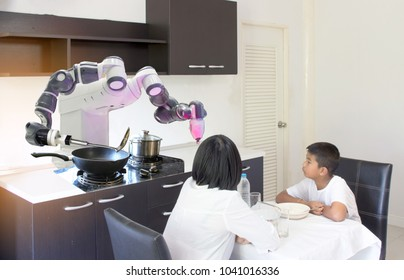 Smart Home Concept, mother and son are dining with intelligent robots, cooking and serving in the kitchen.