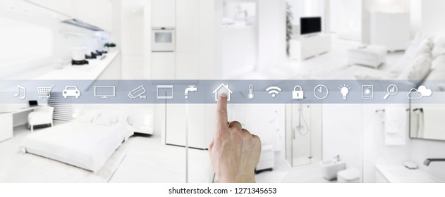 smart home control concept hand touch icons screen with interiors, living room, kitchen, bedroom and bathroom on blurred background, web banner and copy space template