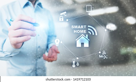 Smart home control panel on virtual screen. IOT and Automation technology concept.