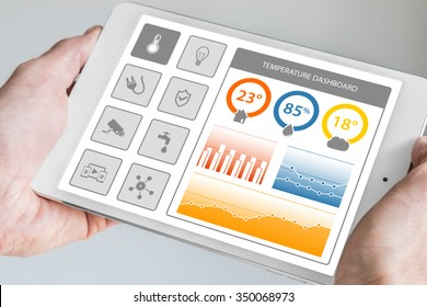 Smart home dashboard in order to control home appliances. Hand holding modern tablet with dashboard displaying charts.