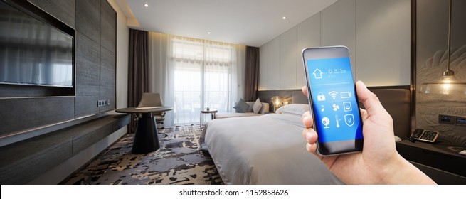 smart home in hotel bed room