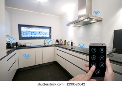 Smart Home Kitchen controlled by man holding smart phone