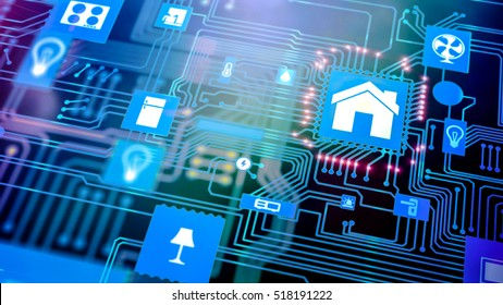 Smart home: Smarthome , smart house automation icon on motherboard, future technology home remote control concept.