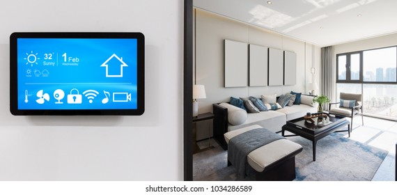 smart home system on intelligence screen on wall and background of modern bedroom