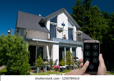 smart house is controlled by smartphone app