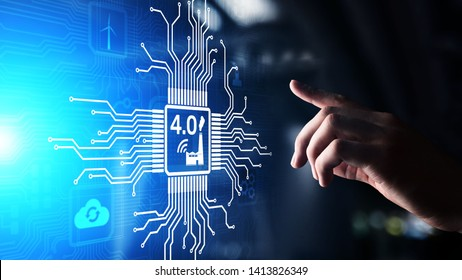 Smart industry 4.0 innovation automation technology concept on virtual screen.