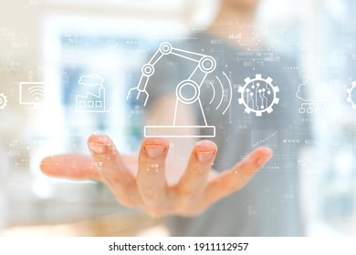 Smart industry concept with young man holding his hand