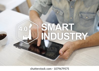 Smart industry. Industrial and technology innovation. Modernization and automation concept. Internet. IOT.