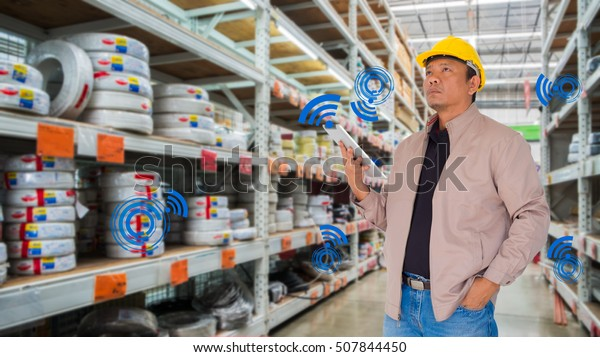 Smart Inventory Management System Concept Man Stock Photo