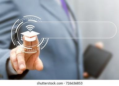 Smart Justice E-Learning Information Technology Template concept. Businessman presses graduation cap wireless wi-fi button on a web search string virtual screen.