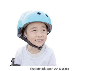Smart kid with sport helmet equipment and thinking next step