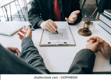 smart lawyer review and give advice to clients in the office before considering the judgment, lawyer concept