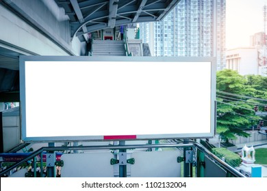 Smart LED TV white screen at the BTS station.Monitor lcd with blank white screen for mockup and design.Modern technology for customer information services and advertising,Media.