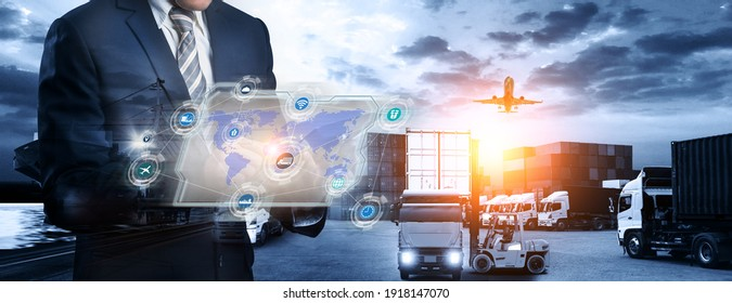 Smart logistics concept, Businessman holding virtual interface panel of global logistics network distribution and transportation import export and transport industry background