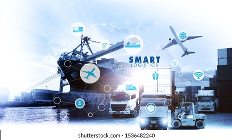 Smart Logistics concept with global logistics partnership Industrial Container Cargo freight ship, internet of things Concept of fast or instant shipping, Online goods orders worldwide