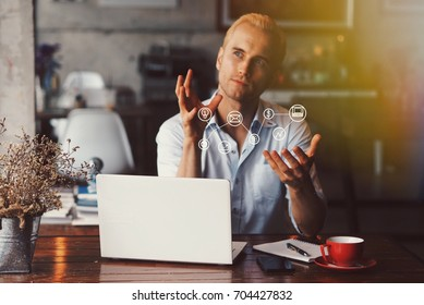 Smart man working with laptop in coffee shop.conection icon,idea and startup icon