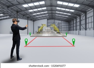 smart manufacturing ,industry 4.0, 5.0 technology concept, man use augmented mixed virtual reality technology to manage, simulation to install new machine in the factory predict, analytic 3d rendering