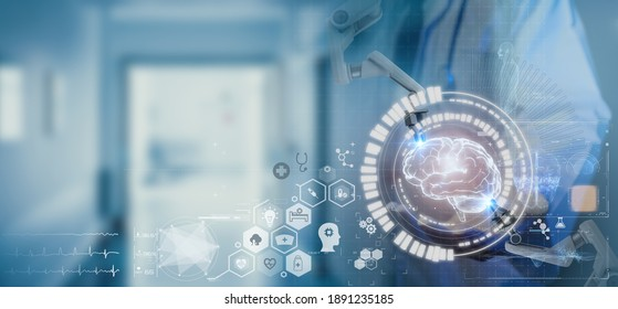 smart medical, health futuristic technology concept, doctor medicine  hud of artificial intelligence , robot to treatment patient by using  technology in health to safe life and make patient better