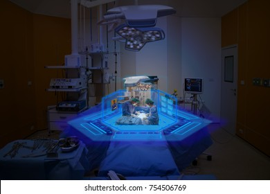 Smart medical technology concept, Medical student use augmented reality technology in operation room for learning the surgery patient , in 3d , it can help to learn various example of surgery