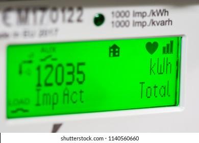 Smart meter digital display showing units and focus on kilowatt hour and total symbols.