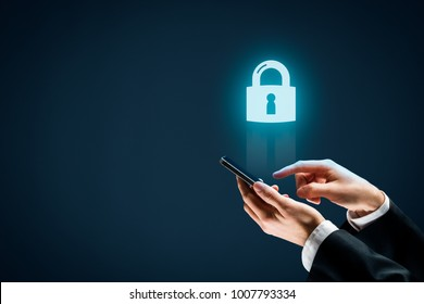 Smart mobile phone (cellphone) security concept. Person with smart phone and symbol of a padlock.