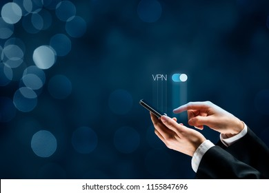 Smart mobile phone user witch on VPN. Private network security concept.