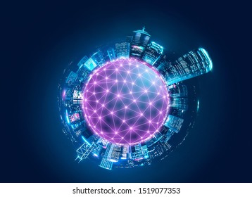 Smart network and Connection technology concept, Tiny planet of Hong Kong digital city background at night in victoria harbour, Cyberpunk color style, Panorama view