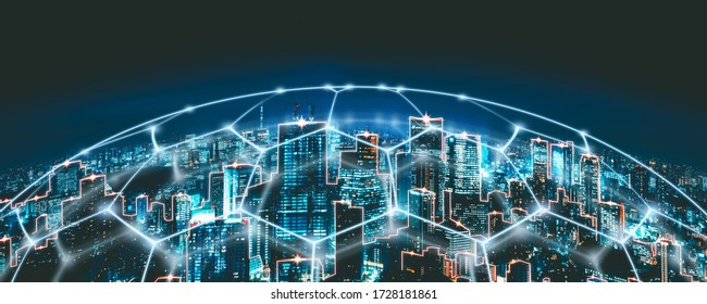 Smart network and Connection technology concept with tokyo city background at night in Japan, Panorama view