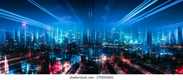Smart network and Connection technology concept with Bangkok city background at night in Thailand, Panorama view