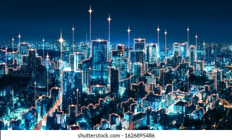 Smart network and internet wifi connection technology concept, Tokyo digital city background with binary line at night in Japan, Panorama view