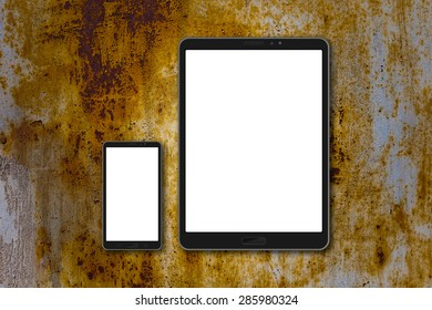 Smart phone (16:9 screen) and tablet (4:3) mockup painted rustic background. Card is 50x90mm. Painted rustic metal have doodle pictures with sunflowers and butterflies.