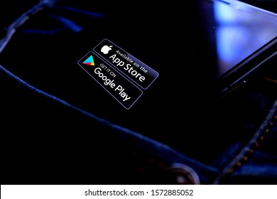 Smart phone with APP STORE logo and GOOGLE PLAY STORE. What are virtual stores of applications. United States, California, Wednesday, November 27, 2020