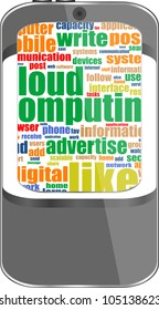 Smart phone with application icons and socila media words