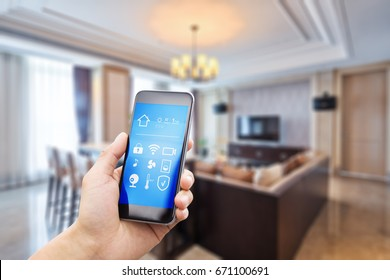smart phone with apps in luxury living room