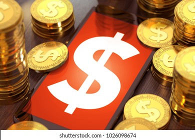 Smart phone with big Dollar symbol on-screen among piles or stack of golden coins. Dollar in crisis concept. 3D rendering