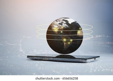 smart phone with bitcoin on 3d globe, virtual currency concept double exposure