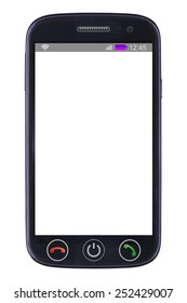 Smart phone with blank screen  isolated on white background
