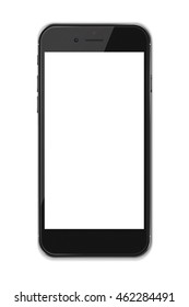 Smart phone with blank screen and shadows isolated on white background. 3D illustration.