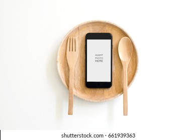 Smart phone with blank screen for take photo food, Order food menu concept